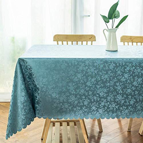 Homaxy Abwaschbar Tischdecke Wasserdicht Lotuseffekt PU Plastik Tischtuch Elegante Fleckschutz Tischwäsche Pflegeleicht Tafeldecke für Home Küche Outdoor- 140 x 200 cm, Blaugrün