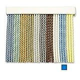 Cortinas Exterior Puerta de Cordon   Tiras Plastico PVC y Barra Aluminio   Ideal para Terraza y Porche   Antimoscas   Blanco-Celeste   210 * 90
