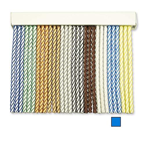 Cortinas Exterior Puerta de Cordon | Tiras Plastico PVC y Barra Aluminio | Ideal para Terraza y Porche | Antimoscas | Blanco-Celeste | 210 * 120