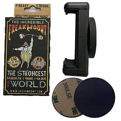 FREAKMOUNT - Freaky Strong Magnetic Phone Mount - Designed for Motorcycles, Gym, Toolbox, Mechanics -Perfect for Wireless Earphones - Strong Spring Grip