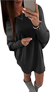 Mintsnow Womens Oversized Sweaters Sexy Off Shoulder Pullover Sweater Dress Knit Jumper