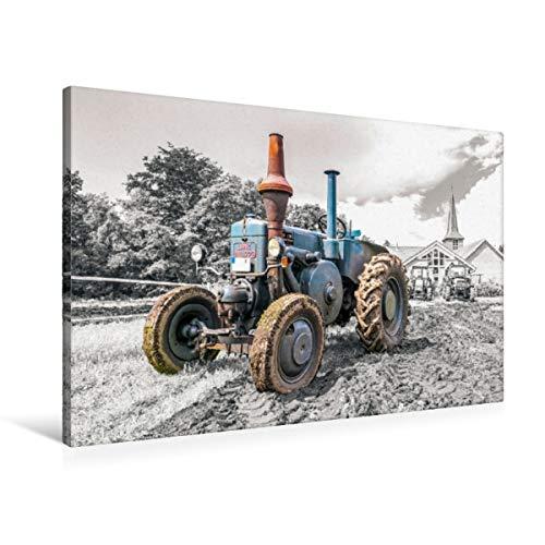 Premium Textil-Leinwand 90 x 60 cm Quer-Format Oldtimer Trecker Lanz Bulldog   Wandbild, HD-Bild auf Keilrahmen, Fertigbild auf hochwertigem Vlies, Leinwanddruck von Andrea Dreegmeyer