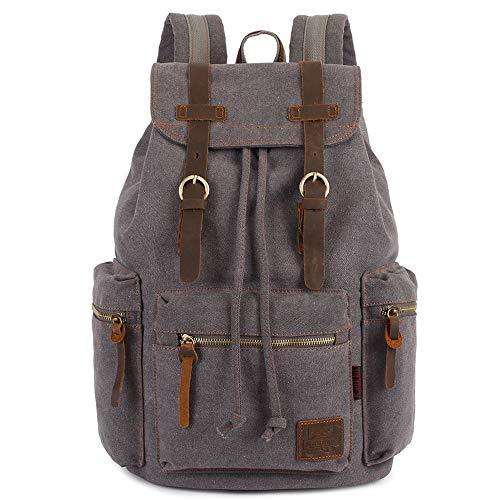 Vintage Rucksäcke 15 Zoll, KAUKKO Damen Herren Schulrucksack Daypack Retro Stylisch Backpack für Outdoor Wanderreise Camping mit Großer Kapazität 27×16×41 cm (Grau02)