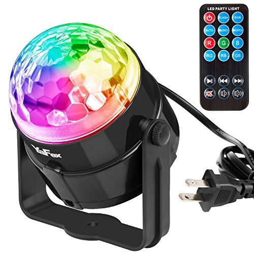 Mini Disco Ball Lights,YaFex Sound Activated Disco Light,Magic Mini Led Stage Lights,3W 7 Colors LED Strobe Light and Glitter Ball for Home Party KTV Xmas Bar Club Christmas Pub with Remote
