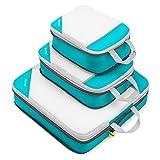 Compression Packing Cubes 3/4er Set, Gonex Kleidertaschen 4-teilig Verpackungswürfel, Kleidertaschen Set, Kofferorganizer Reise Würfel, Blau 3-teilig