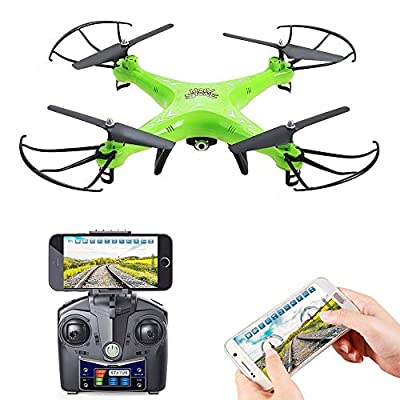 Holy Stone HS110 FPV RC Drone with Camera 720P HD Live Video WiFi 2.4GHz 4CH 6-Axis Gyro RC Quadcopter with Altitude Hold, One Key Return and Headless Mode Function RTF, Color Green (Renewed)