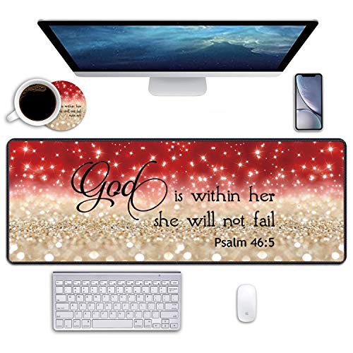 Desk Pad Mat Gaming Mouse Pads with Coasters, 31.5' ×11.8' Large XXL Non-Slip Rubber Base Mousepad with Stitched Edges for Work & Gaming, Office & Home (Red Glitter Quote Bible Verse Psalm 46:5)