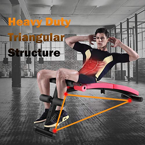 GYMAX Adjustable Sit up Bench, Folding Abdominal Training Slant Bench with Reserve Crunch Handle, Curved Decline Bench for Home/Gym (Red)
