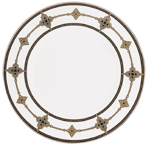 Lenox Vintage Jewel Plaque d'appoint en porcelaine avec bandes en platine Blanc 22,9 cm