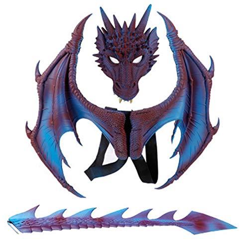 ADosdnn Disfraz de carnaval de demonio de alas de dragn y cola de dragn azul 60 cm