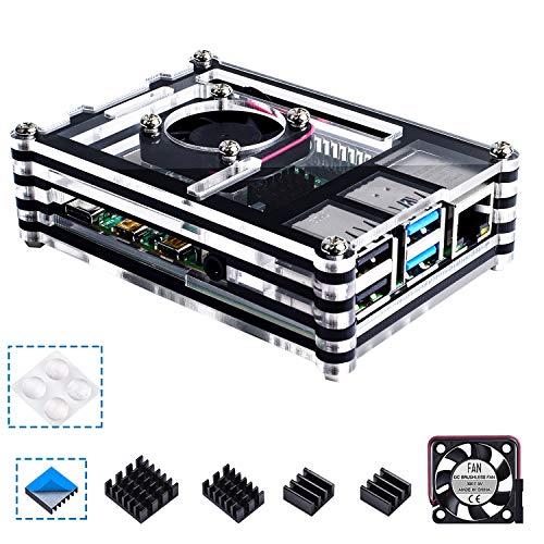 Smraza Raspberry Pi 4 B Gehäuse mit Lüfter, 3 x Kühlkörper für Raspberry Pi 4 Modell B (RPI 4 Board Nicht im Lieferumfang enthalten), Schwarz/transparent