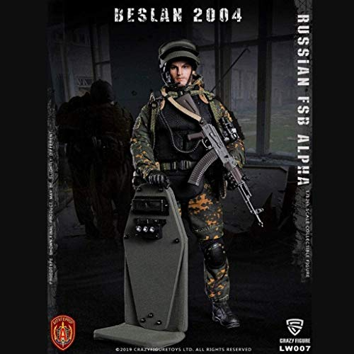WSWJ 1/12 Scale Army Military Action Figure, 6 Inch Russian FSB ALPHA Shield soldier Flexible Male Soldier Model Collection Military Toys Play Set for Male Gift