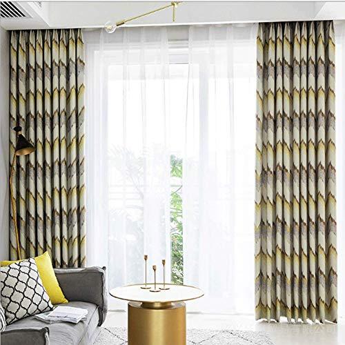 WYLYD Moderne einfache Vorhänge - Baumwolle/Hanf Schlafzimmer Wohnzimmer Vorhänge Blickdicht mit Ösen, 145 * 255 cm, B * H, gelb, 2 Platten