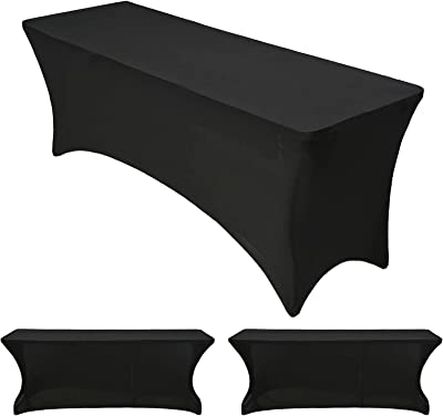3 Pcs 6 ft Rectangular Spandex Table Cover, Patio Table Cover Cocktail Tablecloth Stretchable Tablecloth for Craft Exhibitions Wedding Party Show Event, Tight Fit Washable and Wrinkle (Black)