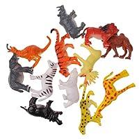 yotijar プラスチック製の野生動物フラム動物インセバグモデルアイオンフィギュアキッズおもちゃギフト - 12本 野生動物