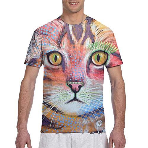 Zhgrong Männer T-Shirts Bunte Ölgemälde Katzen Mens Athletic Kurzarm T-Shirts Rundhals T-Shirt