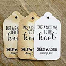 Take a Shot We Tied the Knot Personalized CardStock Favor Tag sets of 25 Tags (my MEDIUM tag) 1 3/8