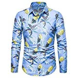EERTX - Chemise Homme Chemises Slim Homme En Lin Et Coton Imprimé Moderne Eté Hiver Manches Longues T Shirt De Base Blouse Fit Top