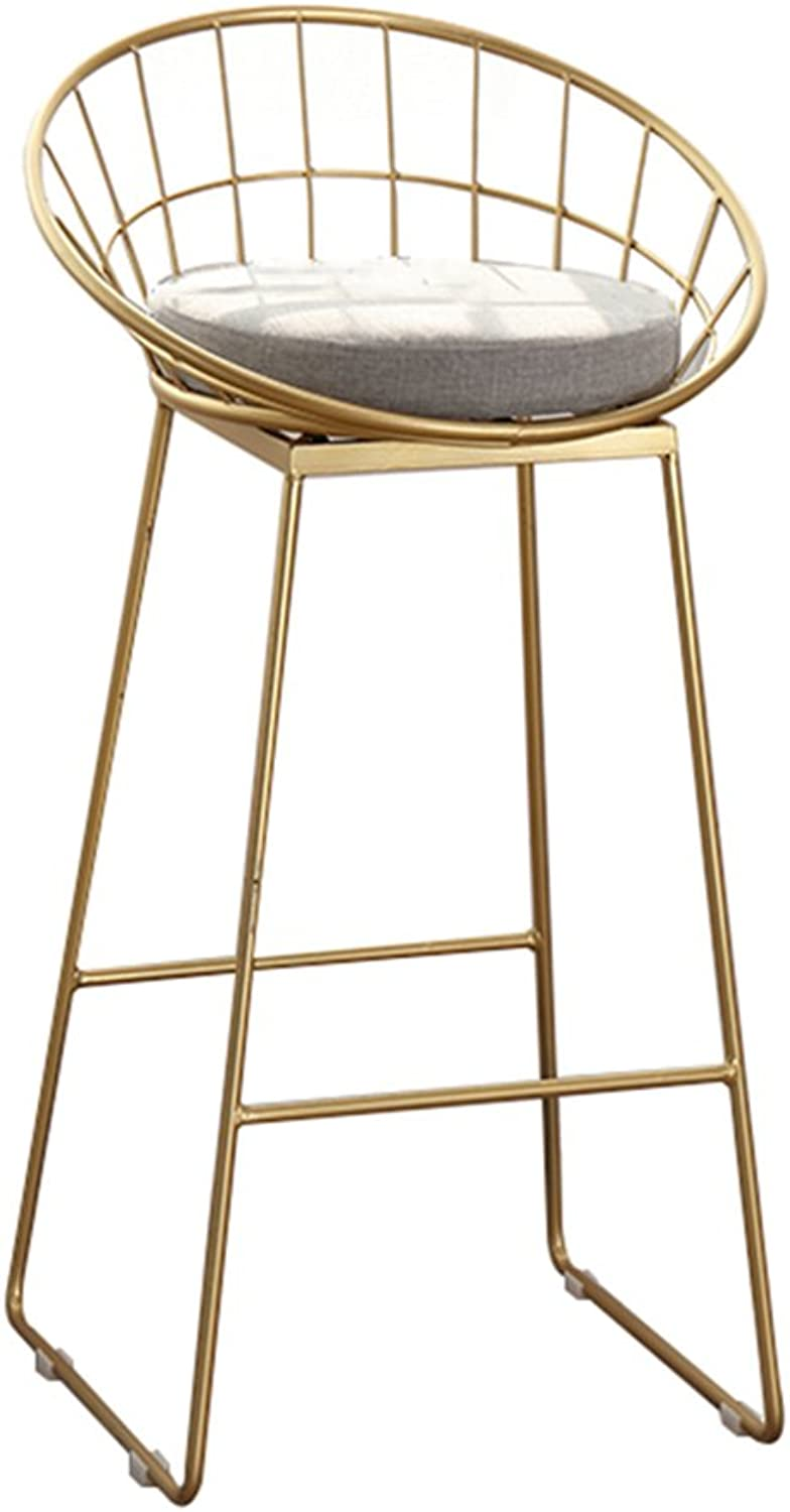 Chair - Fashion Personality Home high Stool bar Chair (color   gold, Size   44  42  85cm)