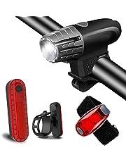 Abeho Led-fietslamp, led-fietsverlichting, oplaadbaar, USB met 400 lumen & waterdicht IP65, intelligente fietsverlichting, 4 modi leds voor straat- en bergfietsen