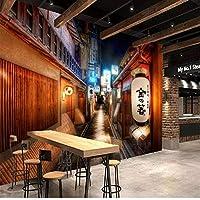 カスタム3D壁壁画写真壁紙レトロノスタルジックシティストリートウォールクロスレストラン寿司レストランウォール家の装飾Feesco-280X200CM