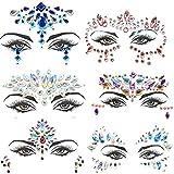 Pegatinas Cara Joyas 6 piezas Gemas de la Cara Face Cristales Tatuajes Temporales Falso para Ojos Cara Festival de Fiestas Decoración