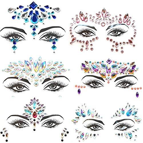 Pegatinas Cara Joyas 6 piezas Gemas de la Cara Face Cristales Tatuajes...