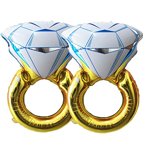 BlankIt! Concepts 1 11 Set of 2 Giant 45' Diamond Engagement Ring Mylar Balloons for Proposal Vow Renewal Valentine's Day Bridal Shower Wedding Bachelorette Parties Decorati, Regular-2, Gold, White