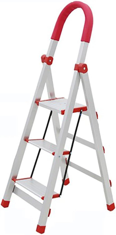 DQMSB Household Folding Aluminum Alloy 3 4 Ladder Indoor Ladder Telescopic Ladder Ladder Thickening Escalator Aluminum Climbing Stairs Step Stool (Size   A)