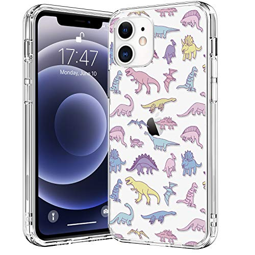 BICOL Compatible with iPhone 12 Case,iPhone 12 Pro Case,Clear with Fashionable Floral Designs for Girls Women,Protective Phone Case for Apple iPhone 12 Pro/iPhone 12 6.1' Cute Dinosaurs