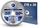 FALKENWALD - Hoja de Sierra Circular 210 x 30 mm - Ideal para Madera - Metal y Aluminio - Disco de Corte compatible con Sierra Tronzadora y Sierra Circular de Bosch & Makita