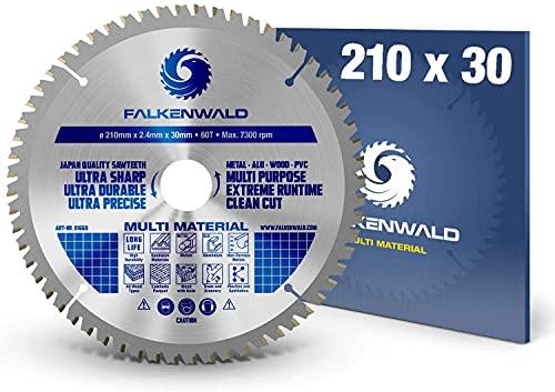 FALKENWALD - Hoja de Sierra Circular 210 x 30 mm - Ideal para Madera - Metal y Aluminio -...