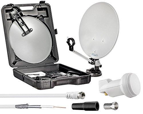 Mobiles Digitales Camping-Set und Sat-Anlage im Koffer mit 40cm Spiegel, Sauguß, 10m Kabel & Single LNB für HDTV 3D SKY - Perfekt für Camping Urlaub