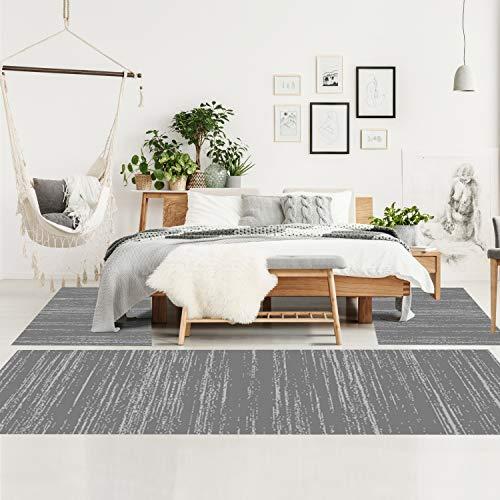 Bettumrandung Schlafzimmer - Hochflor Teppich-Läufer 70x140cm/ 70x230cm in Grau - Teppiche Meliert