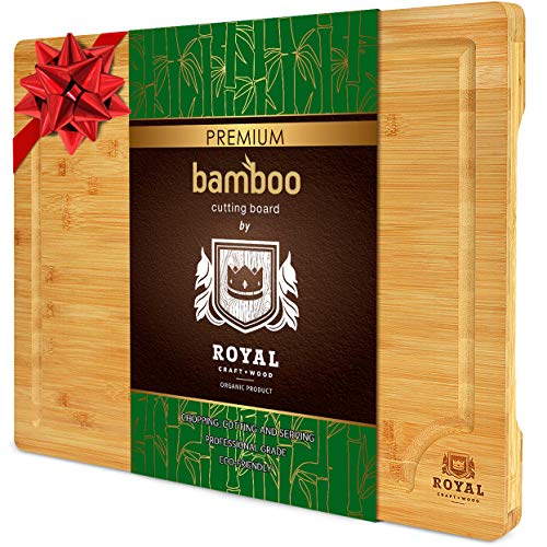 EXTRA LARGE Organic Bamboo Cutting Board with Juice Groove - Best Kitchen Chopping Board for Meat (Butcher Block) Cheese and Vegetables | Anti Microbial Heavy Duty Serving Tray w/Handles - 18 x 12