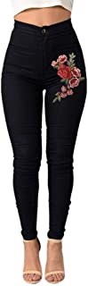 STRIR Cintura Alta Pantalones Jeans Mujer Elástico Flacos Vaqueros Leggings con Bordado de Floral Push up Mezclilla Pantal...