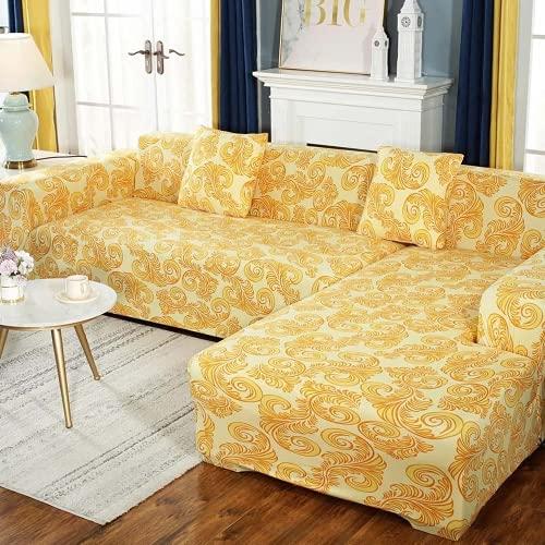 FENFANGAN Funda Sofa Chaise Longue Izquierdo de 2 Piezas, Tela de poliéster Moderna, para Sala de Estar, Fundas Sofa elasticas en Forma de l, Protector de sofá (AB04,2 Seater + 3 Seater)