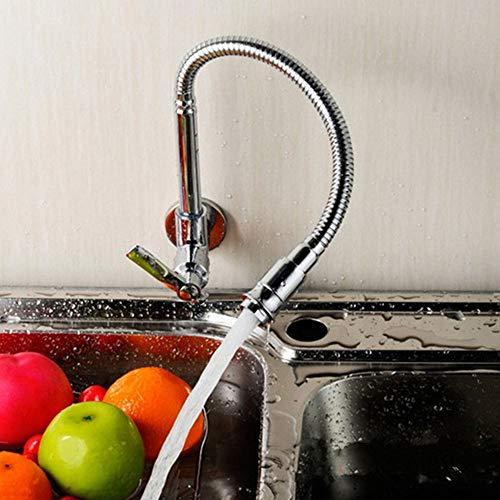 Grifo de cocina de montaje en pared se puede girar 360 °, grifo mezclador de fregadero de latón cromado, grifo de agua fría 3/8, manguera para fregadero, acero inoxidable