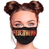 Alsino Alltagsmaske Stoffmaske Motiv Mund- Nasenschutz einstellbare Ohrbügel Waschbar Herren Damen Verschiedene Designs (Feuerwehr)