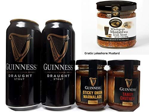 Guinness Bier und Dips-Präsentset aus Irland mit GRATIS Lakeshore Mustard