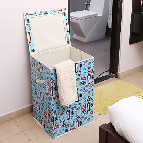 Kurtzy Foldable Laundry Basket with Lid and Handle, Storage Bin...