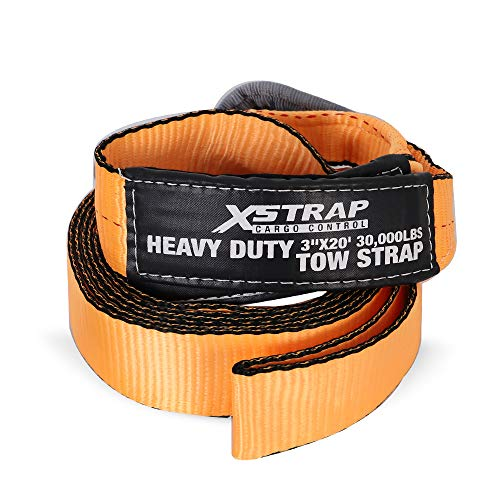 XSTRAP 3' x 20' Heavy Duty Tow Strap - 30,000lb Rated Capacity Heavy Duty Vehicle Tow Strap with Reinforced Loops + Protective Sleeves + Storage Bag (3' x 20')