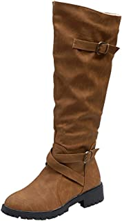 Boots for Womens, Womens Knee High Calf Biker Boots Ladies Zip Punk Military Combat Army Boots