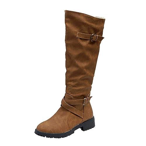 9d08155bbb0df Knee High Boots Women Heel Ankle Winter Shoes, Overknee Thigh Long Suede  Fur Chukka Martin