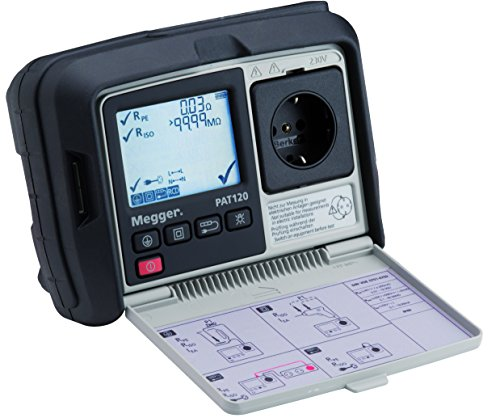 Megger 1003-066 PAT120-DE Gerätetester, Schutzleiterwiderstand mit 200 mA, Isolationsprüfung mit 250V und 500V, Ersatz-Ableitstrom, Verlängerungen