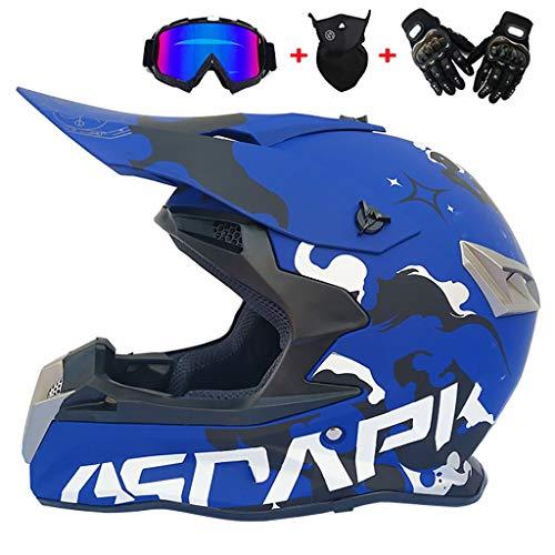 CHAOYUE Motocross Helmet ATV Motorcycle Helmet, con Máscara + Gafas + Guantes, Certificación Dot, Dirt Bike Downhill Off-Road Mountain Bike Helmet, Juego de 4 Piezas, Unisex