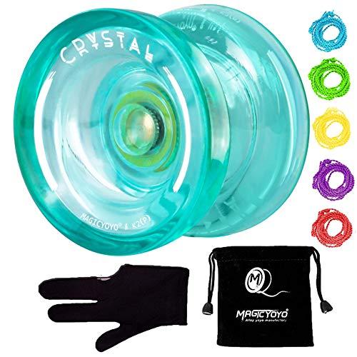 MAGICYOYO K2 Responsive Plastic Fingerspin Yoyo for Kids Beginners Yo-Yo with Yoyo Glove, Yoyo Bag, 5 Yoyo Strings