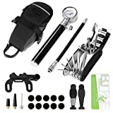Odoland Bike Tyre Repair Kit with Mini Bike Pump with High Pressure Gauge