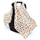 Hudson Baby Unisex Baby Muslin Cotton Car Seat and Stroller Canopy, Forest, One Size