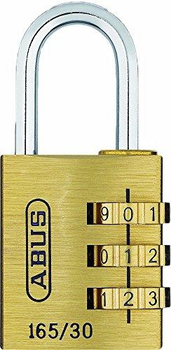 ABUS Zahlenschloss 165/30 - Vorhängeschloss aus Messing - mit individuell einstellbarem Zahlencode - 20360 - Level...